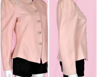 Blush Pink Jacket Vintage 1980s Pink Wool Coat with Pink Pearl Buttons Small