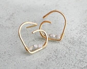 Earrings 14K and genuine diamond - gold filled rings - oreillesor earring gemstone - young wedding girl - women gift