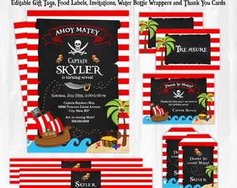 Pirate Invitations - Pirate Party Invitations - Pirate Labels - Pirate Birthday Invitations - PIrate Party Favors - Instant Download!!