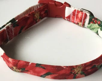 Red and White Poinsetta Collar for Dogs and Cats
