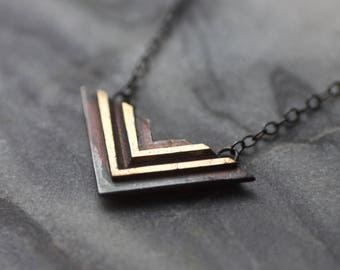 LABYRINTH Oxidised Sterling Silver & 24ct Gold Necklace