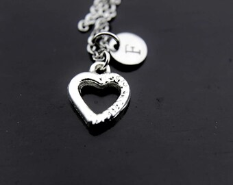 Heart Necklace, Silver Heart Charm Necklace, Heart Charms, Heart Pendants, Personalized Necklace, Initial Necklace, Initial Charms