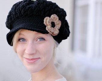 Crochet Hats for Women, Black Hat for Women, Women's Newsboy Hat, Crochet Women's Hat, Slouchy Hat with Brim, Crochet Hat for Women,