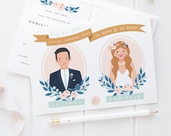 Custom Save the Date Wedding Illustration Postcard   Bride + Groom Floral Frame