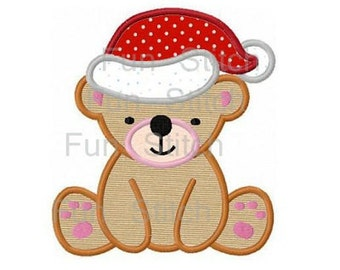 Christmas teddy bear applique machine embroidery design