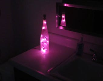 Pink Frosted Wine Bottle Lights