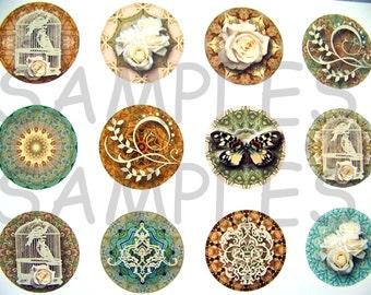 "1"" Vintage Linen Flatback Buttons, Pins, Magnets 12 Ct."