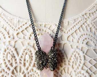 Very Large Rose Quartz Double Terminated Point Pendant with Pyrite Necklace