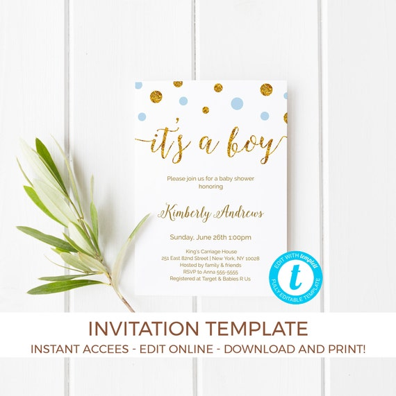 Its a Boy Baby Shower Invitation Template Its a Boy