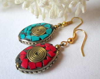 Earrings with inlay * Ethno * asian