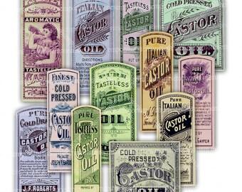 Pharmacy Label Antique Digital Printable Download Vintage Medicine Bottle Drug Store Chemist Castor Oil Old Paper Ephemera Collage Sheet 834