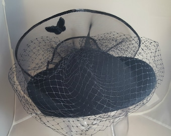 Vintage Mr Charles Hat Butterfly Theme Veil