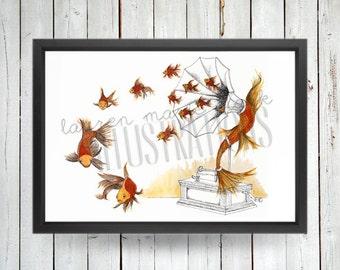 Goldfish Phonograph, Art Print, Illustration