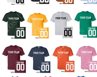 CUSTOM T-Shirt JERSEY Personalized Any Color, Name, Number, Team Softball Baseball Football