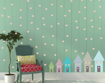 FREE SHIPPING Wall Decal 6 Happy Houses & 141 Hearts Pink Colors.Wall Art. Nursery Wall Decal. Vinyl Wall Decal Kids Wall Decal.