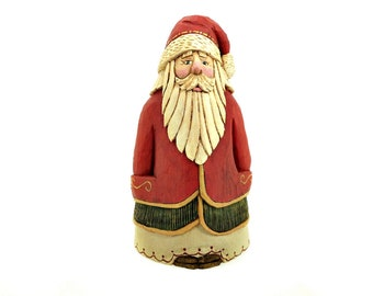 Wood Hand Carved Collectible Santa Decoration