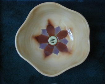 Lotus Vessel Sink with Hand Cut & Airbrushed Original Stencil.