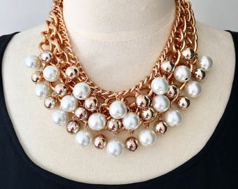 "Rose gold,chain necklace,statement necklace,beaded necklace,pearl necklace,party necklace ""Belle Of The Ball"" Statement Necklace"