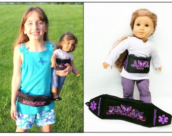 Custom Medicine Waist Pack / Case with Personalized Interior and Matching Doll Case by Alert Wear