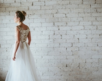 Gold Sequin Cap Sleeve Floor Length Tulle Gown - Dreams Do Come True by Cleo and Clementine