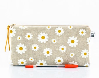 Daisies pencil case, Floral zipper pouch, Linen kids bag, School supplies, Daisy Makeup bag, Small cosmetic case, Teacher gift, Polka dots