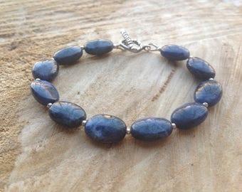Blue Sodalite Bracelet, Semi precious gemstone, Bali Silver, Sterling silver, September birthstone, Gift for Her
