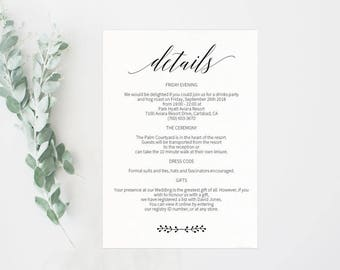 Wedding Details Card, Enclosure Card, Directions Card, Gift Registry Card, Accommodations Card, Information Card, PDF Instant Download #E016