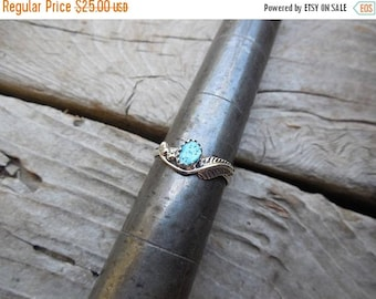 ON SALE Turquoise feather ring handmade in sterling silver with Sleeping Beauty turquoise