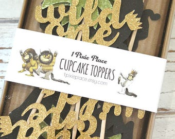 Where the Wild Things are Cupcake Toppers - Set of 12 - Wild One, Wild Thing