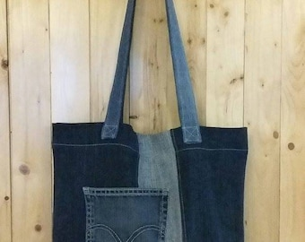 Tote style bag upcycled jeans