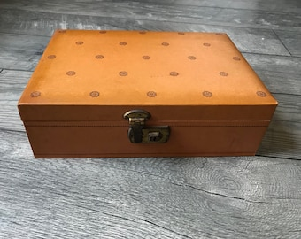Vintage Mele Pink Velvet and Fabric Encasing with Orange Outside design, Comes with lock and key, Jewelry Box, Mele Jewelry, Gifts For Her