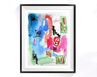 Travel Abstract, Wall Art Print, Home decor, Bold Color, Blue, pink, Abstract poster, Watercolor painting, abstract art, Europe, sale