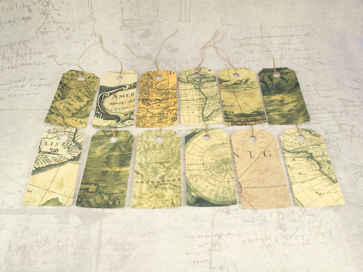 Map gift tags set vintage inspired map hang tags travel gift teacher appreciation gift vintage worldmap sold by lindedesigns gumiabroncs Gallery