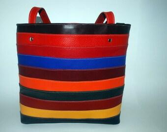 Colorful handmade leather bag
