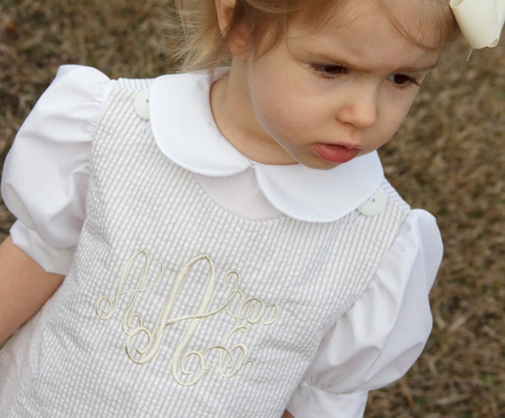 Khaki / Beige Seersucker Dress, Girl's Monogrammed Dress