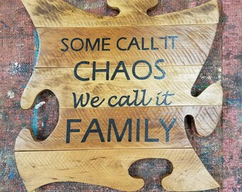 Autism Awareness Puzzle Piece, reclaimed wood