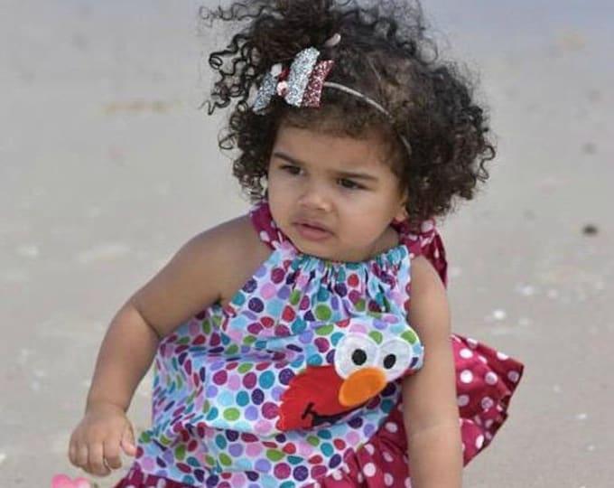 Elmo Dots Vintage Pillowcase Dress Disney Dress Birthday Dress Photo Prop Dress