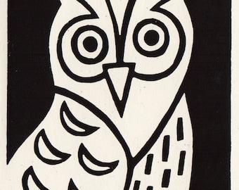 Little Owl. Linocut Greeting Card