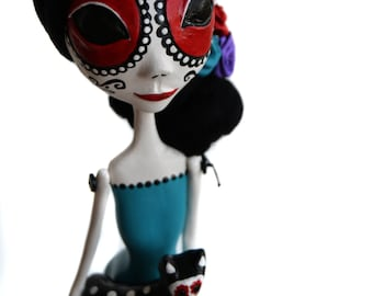 Day of the Dead Doll - Day of the Dead Cat - Cat Art Doll - Mexican Folkart