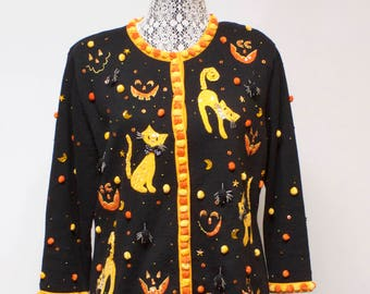 Vintage Women's Halloween sweater cardigan with cats, Jack O Lanterns and spiders decor by Jack B. Quick size Large