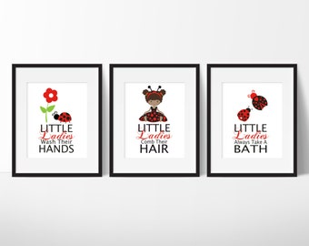 Bathroom Wall Decor - Bathroom Decor - Girls Bathroom Decor - Ladybug Bathroom Prints - Ladybug Art - Ladybug Wall Art - Little Ladybugs