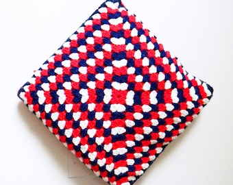 Vintage Crochet Pillow / Bold Retro Rad Pillow with Insert / Retro Home Decor / Red White Blue Rad Pillow