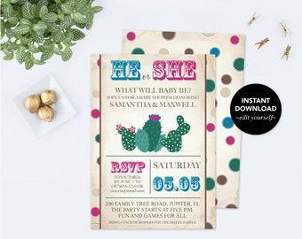 Fiesta GENDER REVEAL INVITATION, Cactus, Gender Reveal Ideas, Gender Neutral Invite Instant Download, pdf Digital, Western Baby Announcement