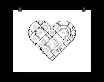 Heart Print - Architectural Wall Art