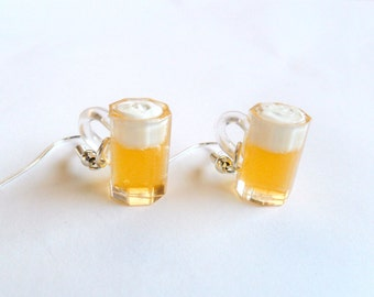 Beer Mug Earrings, Cute :D Choice of Sterling Silver Hooks