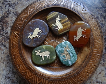 DEER Gemstone Animal Spirit Totem for Spiritual Jewelry or Crafts