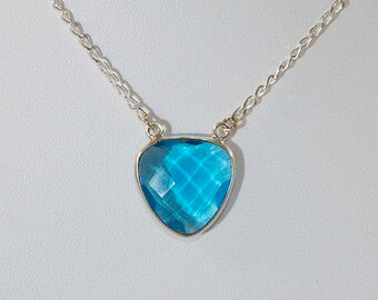 Blue topaz sterling silver necklace