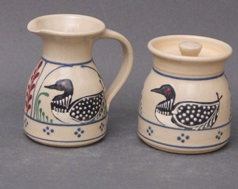 Cream and Sugar Set- Two Piece Loon with red and green accens - Stoneware Pottery Creamer or Gravy boat