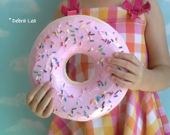 GIANT Faux Donut Fake Glazed Doughnut Pastel Pink Frosting with Sprinkles WALL DECOR Fake Cake Kitchen Decor Display