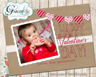 Valentine Photo Card, Happy Valentine's Day, Brown & Red wih hear bunting Valentine's Day Card